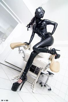 Total Latex fetish. Gas mask