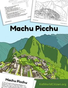 Machu Picchu Lesson: Teach about the Incas in Peru! Reading plus comprehension questions, a crossword puzzle, slideshow of gorgeous photos, and a detailed coloring sheet.