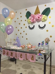 Unicornio Unicorn Themed Birthday Party, 11th Birthday, Birthday Fun, First Birthday Parties, Birthday Party Decorations, First Birthdays, Shower Bebe, Unicorn Baby Shower, Partys