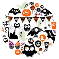 Halloween Party Icon Set Royalty Free Stock Vector Art Illustration