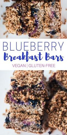 Easy Healthy Vegan Breakfast Blueberry Breakfast Bars Dairy and Gluten Free Breakfast Bar #vegan #breakfast #glutenfree