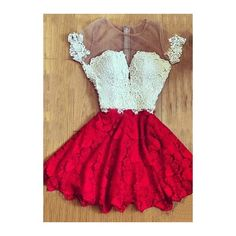 Rotita White and Red Lace A Line Dress ($21) ❤ liked on Polyvore featuring dresses, red, mini dress, red mini dress, lace a line dress, white lace dress and white short sleeve dress