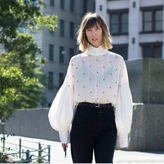 Regram from @nytimesfashion , look of the day my fave @tibi blouse from #ss17 @closedofficial jeans