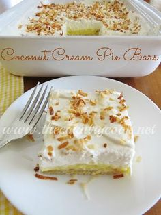 Coconut Cream Pie Bars recipe from The Country Cook. A perfectly easy crunch crust, topped with a creamy, thick coconut filling, then topped with a fresh shipped cream topping and finished off with toasted coconut!