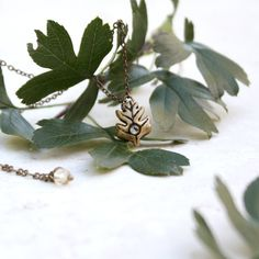 Tiny Hawthorn Leaf Necklace Tree Jewelry Gold by GwydionsGarden