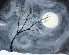 Tree Art Winter Painting Windy Painting Tree par treetalker