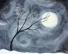 Black and white tree painting Art print of a tree by treetalker, $18.00
