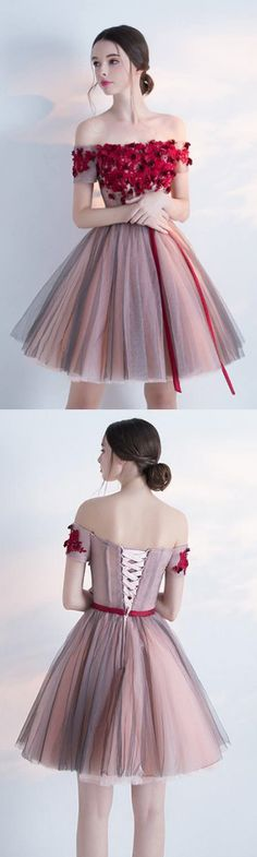 A Line Prom Dresses, A Line dresses, Off Shoulder dresses, Off Shoulder A Line Sleeveless Homecoming/Cocktail Dress With Flowers,Short Prom Dress