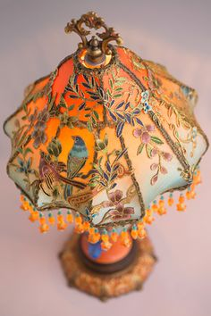 Nightshades - exquisite, one-of-a-kind antique and vintage fabric lampshades on period lamp bases with hand beaded fringe. Victorian Lamps, Antique Lamps, Vintage Lamps, Chinoiserie, Chandeliers, Brass Lamp, Fenton Glass, Lamp Shades, Beautiful Interiors