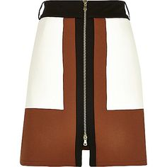 Brown panelled A-line zip front skirt - a line skirts - skirts - women A Line Mini Skirt, A Line Skirts, Short Skirts, Mini Skirts, Retro Skirts, High Waisted Pencil Skirt, Pencil Skirts, Foto Fashion, Brown Skirts