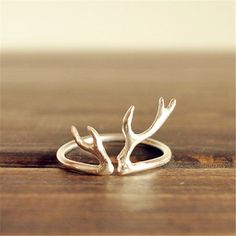 Modern and elegant antler ring-antler ring in sterling silver-deer ring-stag ring-horn ring-reindeer ring-silver antler ring