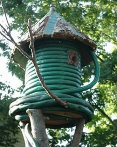 Recycled Hose Birdhouse