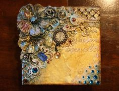 Mixed Media Steampunk style Keepsake box - VIDEO TUTORIAL by Gabrielle Pollacco using Bo Bunny mixed media products (Stickable Stencils, Pearlescents, Glimmer Sprays, Glitter Pastes, Jewels and Trinkets).