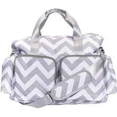 Trend Lab Gray and White Chevron Deluxe Duffle Diaper Bag ($50) ❤ liked on Polyvore featuring bags, handbags, diaper bags, grey, pouch purse, pocket pouch, grey purse, diaper bag and gray purse