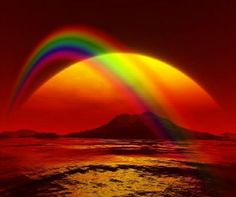 ♥ rainbows its a colorful present from a above. Make me silent. Shows the abundance in life.