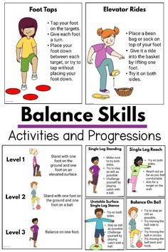 Balance Activities and Progressions Physical Activities For Kids, Occupational Therapy Activities, Pediatric Physical Therapy, Motor Skills Activities, Movement Activities, Physical Education Games, Physical Development, Sensory Activities, Learning Activities