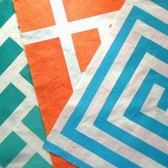 Make your own geometric fabric prints with tape and fabric paint.
