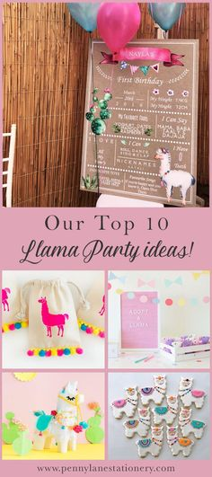 Check out our selection on the most whimsical and fun Llama Birthday Party ideas! Birthday Party Table Decorations, First Birthday Party Themes, Birthday Party Tables, Birthday Diy, 1st Birthday Girls, Party Themes For Girls, 10th Birthday, Llama Birthday, Llama Alpaca