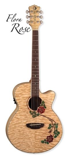 "Luna Model FLO RSE ""Flora Rose"" Quilted Maple Acoustic Electric Guitar - NEW #Luna #ACOUSTICELECTRIC"