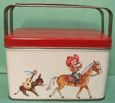 VINTAGE 1950'S TIN LITHOGRAPH LUNCH BOX BUBBLE GUM TIN COWGIRL CHILDREN WESTERN