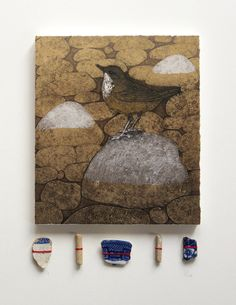 'The Dipper and the Mudlark' by Hester Cox (collagraph print on wooden block with pottery and clay pipe shards) Clay Pipes, Collagraph, Find Objects, Dipper, Limited Edition Prints, Art Techniques, Mixed Media Art, Printmaking, Pottery