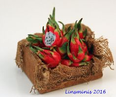 12th scale handmade miniature Crate of Dragon Fruit by linsminis