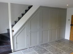 cupboard painted in Farrow and Ball Lamp Room Grey Understairs Storage Ball cupboard Farrow Grey Lamp Painted room Staircase Storage, House, Home, House Entrance, Farrow And Ball Lamp Room Grey, Under Stairs Cupboard, Open Basement Stairs, Stairs, Basement Stairs