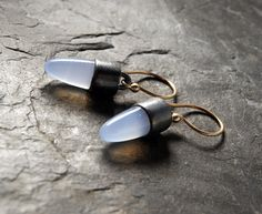 RESERVED...Mixed Metals Lavender Chalcedony Earrings in by anatomi