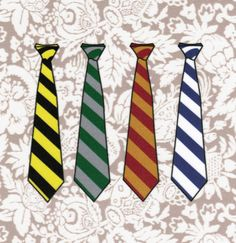 Harry Potter house ties!  Would make a great quilt block!  By Fandom Fabric on Etsy