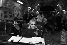 Hillary Clinton on the move in her C-17 traveling office