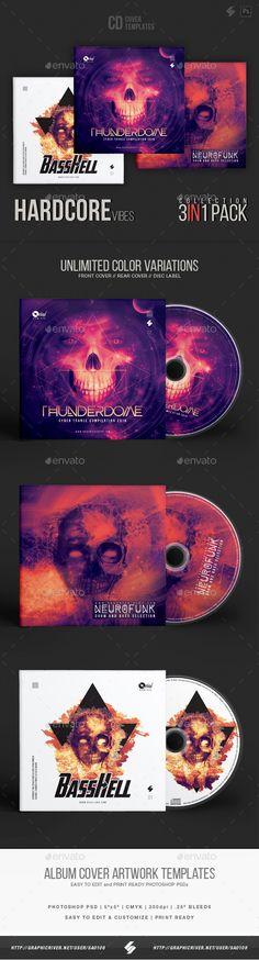 Hardcore Vibes - CD Cover Artwork Templates Bundle - #CD & DVD #Artwork Print #Templates Download here: https://graphicriver.net/item/hardcore-vibes-cd-cover-artwork-templates-bundle/19486287?ref=alena994