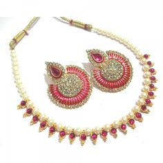 Buy Dark Pink Pearl and Stone Minakari Necklace Set Online at cheap prices from Shopkio.com: India`s best online shoping site