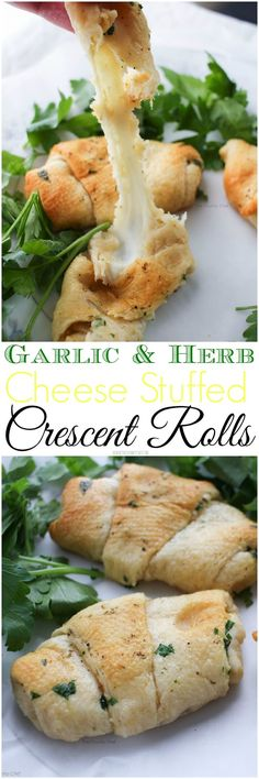 Garlic and Herb Cheese Stuffed Crescent Rolls - Buttery, rich, garlicky and full of fresh herbs and delicious mozzarella cheese!