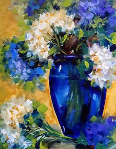 Artists Of Texas Contemporary Paintings and Art - Simple Moments White and Blue Hydrangeas by Floral Artist Nancy Medina