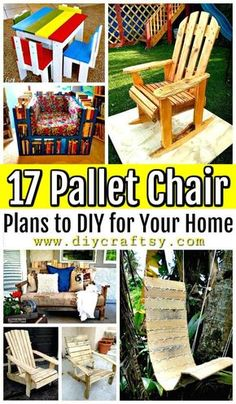 17 Pallet Chair Plans to DIY for Your Home - Pallet Ideas - Pallet Furniture Ideas - Pallet Projects Pallet Chair, Wooden Pallet Furniture, Wooden Pallets, Wooden Diy, Wooden Chairs, Metal Chairs, Pallet Wood, Diy Wood, Pallet Projects Signs