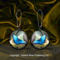 Butterfly Blue Button Earrings Mother of Pearl Pierced Picture Jewelry Handmade #Handmade