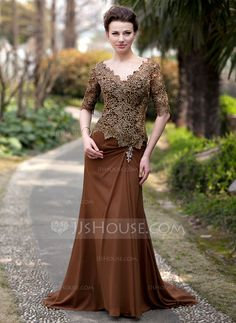 [US$ 174.49] Trumpet/Mermaid V-neck Sweep Train Chiffon Lace Mother of the Bride Dress With Ruffle Beading