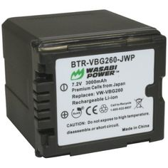 Wasabi Power Battery for Panasonic VW-VBG260 and Panasonic HDC-HS250, HDC-HS300, HDC-HS700, HDC-SD600, HDC-SD700, HDC-SDT750, HDC-TM300, HDC-TM700, SDR-H80 (3000mAh) by Wasabi Power. $22.99. The Wasabi Power VBG260 battery replaces the Panasonic VW-VBG260 battery pack. It is compatible with many Panasonic HDC camcorders.  The VBG260 is a larger, high-capacity battery that provides a longer run time than the Panasonic VW-VBG130.   The Wasabi Power VBG260 features 300...
