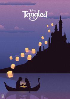 Tangled - Illustration Poster by str-dusts on DeviantArt Vintage Disney Posters, Disney Movie Posters, Disney Canvas Art, Disney Art, Disney Kunst, Images Murales, Disney Paintings, Pinturas Disney, Minimalist Poster
