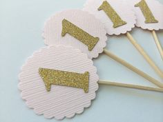 30 Light Pink Cupcake Topper with Gold Glitter Number. Birthday Party Food Picks. Pink and Gold Party