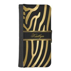 Elegant Classy Black Gold Zebra Animal Prints iPhone 5 Wallet Case