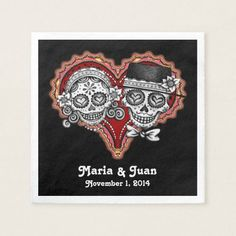 Shop Sugar Skulls Couple Paper Napkins for Wedding created by thaneeyamcardle. Custom Napkins, Personalized Napkins, Custom Wedding Favours, Personalized Wedding Favors, Sugar Skull Wedding, Sugar Skull Design, Wedding Napkins, Paper Hearts, Wedding Paper