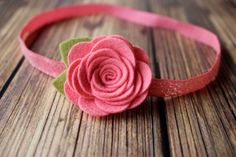 Coral felt flower headband by muffintopsandtutus on Etsy