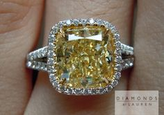 Now here's a pretty little 3.01 carat Fancy Light Yellow Diamond Ring that was just finished for us.