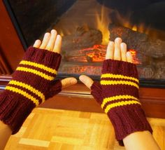 Harry Potter Inspired Gryffindor Fingerless by kittensmittensshop