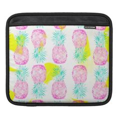 Tropical pink mint green yellow pineapples pattern iPad sleeve