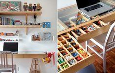 Excelente idea para un escritorio lleno de cosas para jugar y crear