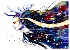 Goddess of galaxy (original on sale) by PixieCold.deviantart.com on @deviantART