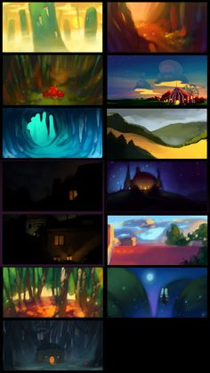 Samples of art by Nicholas Kole, see how the shapes, forms, colors and lighting create appealing compositions. Animation Storyboard, Comic Layout, Color Script, Animation Background, Color Studies, Environment Design, New Artists, Art Tutorials, Digital Illustration