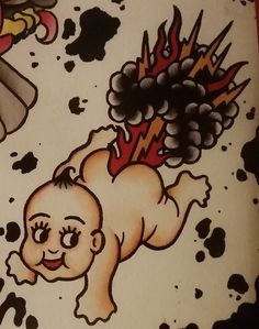 "Traditional/old school tattoo, Jeromey ""tilt"" McCulloch, Coopr, baby, fart, lightning, flames"